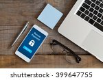 secure payment by mobile. smart ... | Shutterstock . vector #399647755