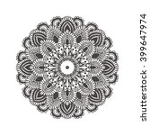 hand drawn mandala with ethnic... | Shutterstock .eps vector #399647974