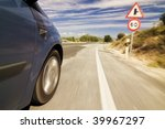 blurred speed limit sign on the ... | Shutterstock . vector #39967297
