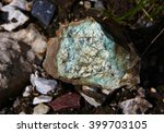 Small photo of Acute-angled fragment gold-bearing quartz - malachite ore