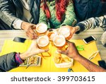 group of friends cheers with... | Shutterstock . vector #399703615