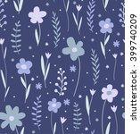seamless flower pattern. blue... | Shutterstock .eps vector #399740209