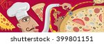 pizza restaurant art  vector... | Shutterstock .eps vector #399801151