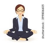 young business woman in yoga... | Shutterstock .eps vector #399806605