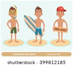 male characters on the beach. 3 ... | Shutterstock .eps vector #399812185