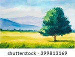 watercolor summer landscape.... | Shutterstock . vector #399813169