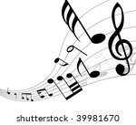 musical notes background with...   Shutterstock . vector #39981670