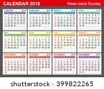 calendar 2018. week starts... | Shutterstock .eps vector #399822265