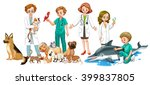 vets and many animals... | Shutterstock .eps vector #399837805