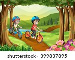 kids riding in the park | Shutterstock .eps vector #399837895