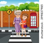 Girl Helping Grandmother...