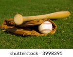 vintage baseball with bat and... | Shutterstock . vector #3998395