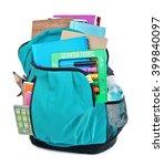 backpack with school supplies ...   Shutterstock . vector #399840097