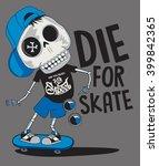 vector skateboard skull design | Shutterstock .eps vector #399842365
