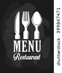 cutlery and restaurant icon... | Shutterstock .eps vector #399847471