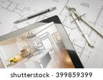 computer tablet showing kitchen ... | Shutterstock . vector #399859399