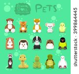 animal dolls pet set cartoon... | Shutterstock .eps vector #399864445