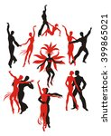 set. red and black silhouettes... | Shutterstock .eps vector #399865021