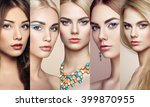 beauty collage. faces of women. ... | Shutterstock . vector #399870955