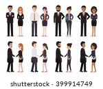 Group of business men and business women standing , people at work with handshaking on white background. Flat design people characters. | Shutterstock vector #399914749