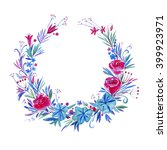 wreath of flowers.watercolor... | Shutterstock . vector #399923971