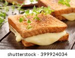fresh toast with cheese and... | Shutterstock . vector #399924034