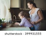 daughter with her mother to... | Shutterstock . vector #399931555