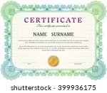 certificate template with... | Shutterstock .eps vector #399936175