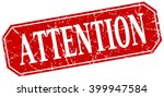 attention red square vintage... | Shutterstock .eps vector #399947584