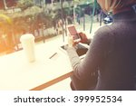 woman is chatting on mobile... | Shutterstock . vector #399952534