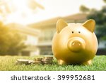 piggy bank gold color and stack ... | Shutterstock . vector #399952681