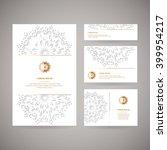 set of four ornamental gold... | Shutterstock .eps vector #399954217