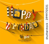 birthday card. clothespin and... | Shutterstock .eps vector #399970531