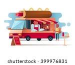 cafe van hot dogs | Shutterstock .eps vector #399976831