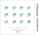 color line icon set of people... | Shutterstock .eps vector #399980611