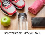 red and grey sneakers with grey ... | Shutterstock . vector #399981571