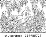 Coloring Page Of Bird On A...