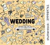 wedding line art design vector... | Shutterstock .eps vector #399989761