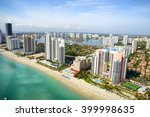 miami skyline from above ... | Shutterstock . vector #399998635