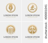 set of four round golden law... | Shutterstock .eps vector #400001041