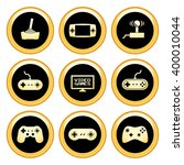 video game icons gold icon set. ... | Shutterstock . vector #400010044