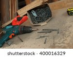 hand tools wood  drill jig saw...   Shutterstock . vector #400016329