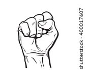 raised hand showing a fist  a... | Shutterstock .eps vector #400017607