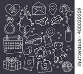 doodle icons. valentine's day.... | Shutterstock .eps vector #400030309