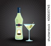 bottle of martini and a glass... | Shutterstock .eps vector #400035745