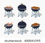 barbecue. 3d lowpoly isometric... | Shutterstock .eps vector #400041595