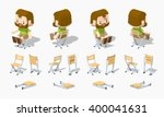 folding chair. 3d lowpoly... | Shutterstock .eps vector #400041631