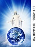 Jesus Christ with blessing and loving gesture above Earth over sky with divine rays of light - stock photo