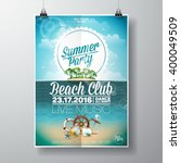 Stock vector vector summer beach party flyer design with typographic elements on ocean landscape background 400049509