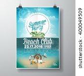 vector summer beach party flyer ... | Shutterstock .eps vector #400049509